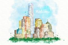 水彩绘城市建筑风景矢量素材