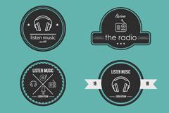 6款创意广播与音乐标签矢量素材