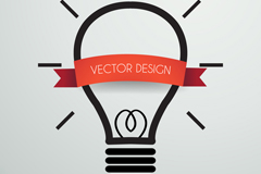 创意灯炮和丝带设计矢量素材