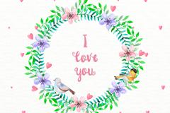 水彩绘爱的花环和鸟矢量素材