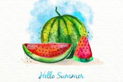 彩绘夏季西瓜矢量素材