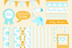 18款蓝色可爱婴儿剪贴簿元素矢量素材