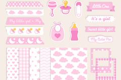 20款粉色婴儿剪贴簿元素矢量素材