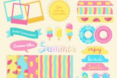 24款彩色夏季剪贴簿元素矢量图