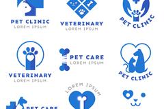 9款蓝色宠物医院标志矢量素材