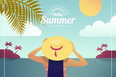 夏季海边度假女子背影矢量图