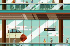 创意机场候机大厅插画矢量素材
