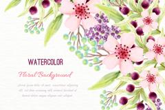 水彩绘美丽花卉设计矢量素材