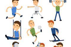 9款创意运动男子设计矢量素材