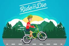 公路上骑单车的男子矢量素材
