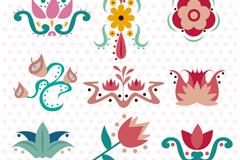 9款创意花卉花纹设计矢量图