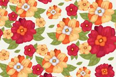 彩绘艳丽花朵无缝背景矢量素材