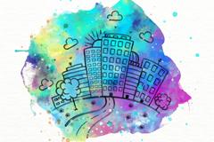 水彩绘城市风光矢量素材