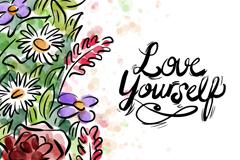 彩绘花朵自爱隽语矢量素材