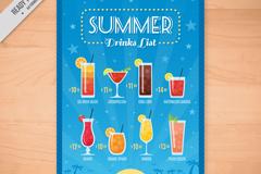 彩色夏日饮料单矢量素材