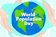 蓝色地球世界人口日贺卡矢量素材