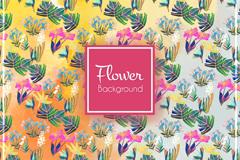 彩色花卉和叶子无缝背景矢量图