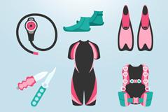 10款粉色系潜水装备矢量亚虎娱乐pt