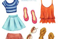7款彩绘夏季时尚女子服饰矢量图