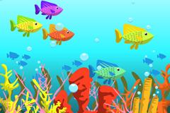 彩色海底世界鱼群和珊瑚矢量素材