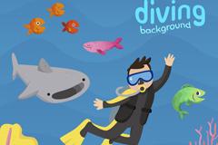 卡通潜水的男子和鱼群矢量素材