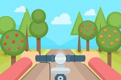 创意骑车视角风景矢量素材