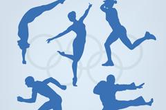 5款奥运体育人物剪影矢量素材