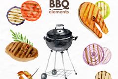 10款水彩绘BBQ烧烤元素矢量素材