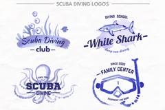 9款蓝色专业潜水俱乐部标志矢量图