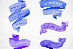 5款蓝色和紫色祝福条幅丝带矢量素材