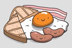 彩绘可爱卡通早餐食物矢量素材