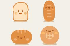 4款可爱面包表情设计矢量素材