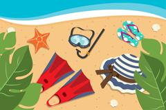 彩色夏季海滩度假物品插画矢量图