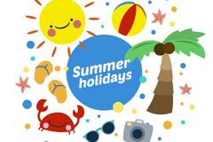 8款可爱夏日假期元素矢量素材