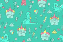 卡通龙和城堡无缝背景矢量素材