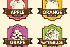 4款创意水果果汁标签矢量素材