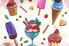 6款美味夏日雪糕冰激凌矢量素材