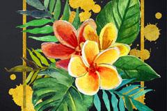 水彩绘热带扶桑花龟背竹矢量素材