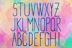 26个水彩细线大写字母设计矢量素材