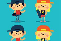 4款可爱玩滑板的人物矢量素材