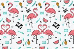 夏季粉色火烈鸟和菠萝无缝背景矢量图