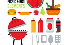16款彩色野餐与烧烤元素矢量图