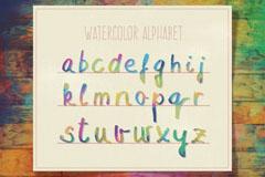 26个混色水彩字母设计矢量图