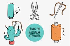 8款彩绘手工缝纫元素矢量素材