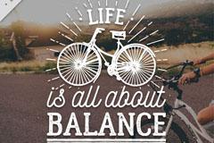 人生就是一种平衡隽语艺术字矢量图