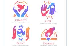 4款创意慈善元素标志矢量图