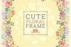 可爱花卉框架设计矢量素材