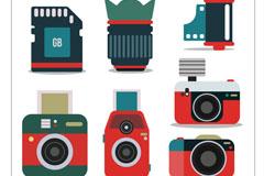 7款老式复古相机和配件矢量素材