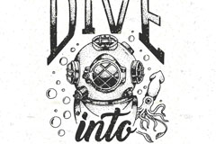 手绘复古潜水元素亚虎娱乐老虎机矢量图