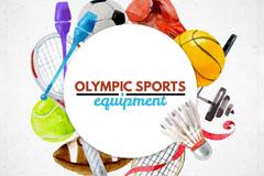 水彩绘奥运球具等边框矢量图